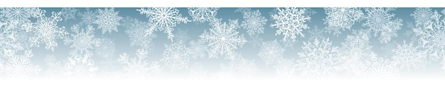 Christmas horizontal  banner of big and small complex snowflakes with seamless horizontal repetition, in light blue colors. winter background with falling snow