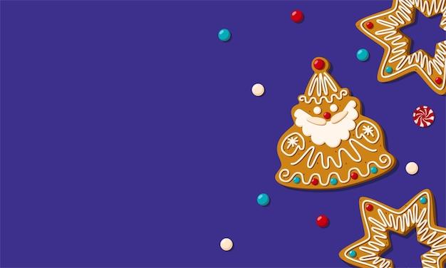 ジンジャーブレッドクッキーとクリスマスの水平バナー。