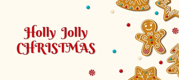 흰색 바탕에 홈메이드 진저 브레드가 있는 크리스마스 가로 배너 홀리 졸리 크리스마스