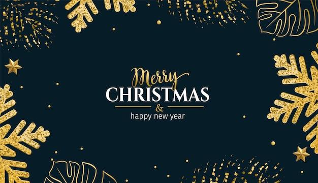 熱帯の黄金の葉、光沢のある雪片、クリスマスの装飾が施されたクリスマスの水平方向の明るいバナー。
