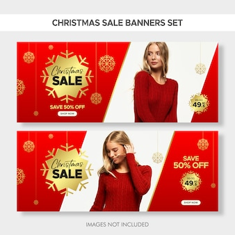 Christmas horizontal fashion sale banners set for web