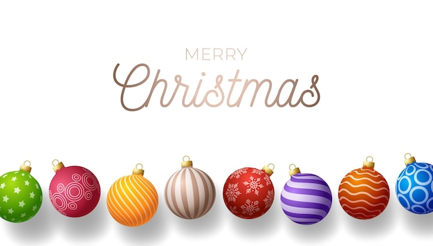 Christmas horizontal greeting banner. holiday with realistic ornate colorful christmas balls on white background.