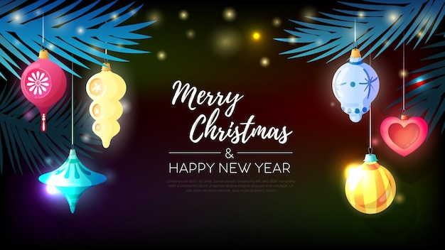 Рождественская горизонтальная открытка с еловой иглой и елочными шарами