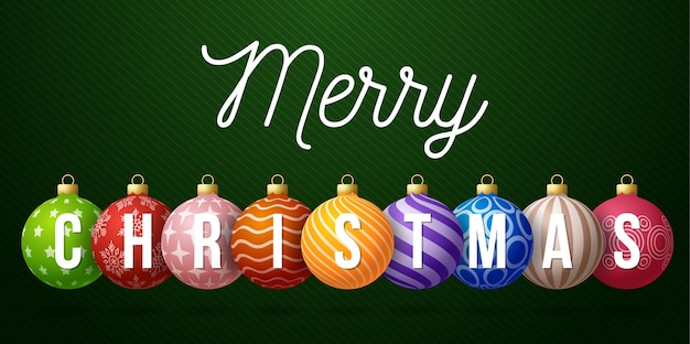 Christmas horizontal promo banner. holiday  illustration with text christmas on realistic ornate colorful balls on green background.
