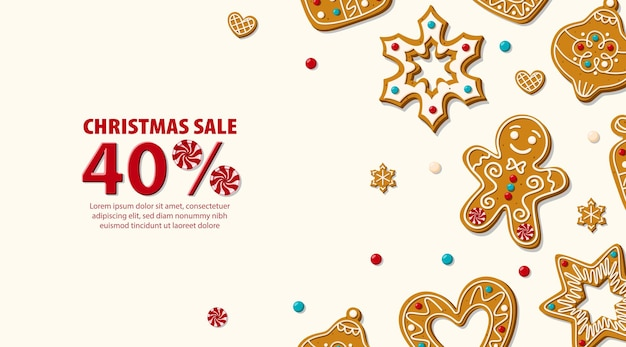 Christmas horizontal sale banner template with gingerbread and candy canes. vector illustration.