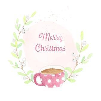 スノーベリーリースフレーム付きクリスマスホットチョコレートカップ