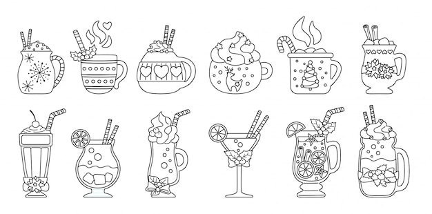 Christmas hot drink line set. black linear flat cartoon different beverages. holiday cute mugs hot cocoa, coffee, milk and mulled wine. new year drinks decorated holly, candy. illustration
