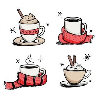 冬のコーヒー、お茶のクリスマスホットドリンクセット。手描きのスケッチスタイル。ドリンクカップ、冬のスカーフとマグカップ。ベクトルイラスト。