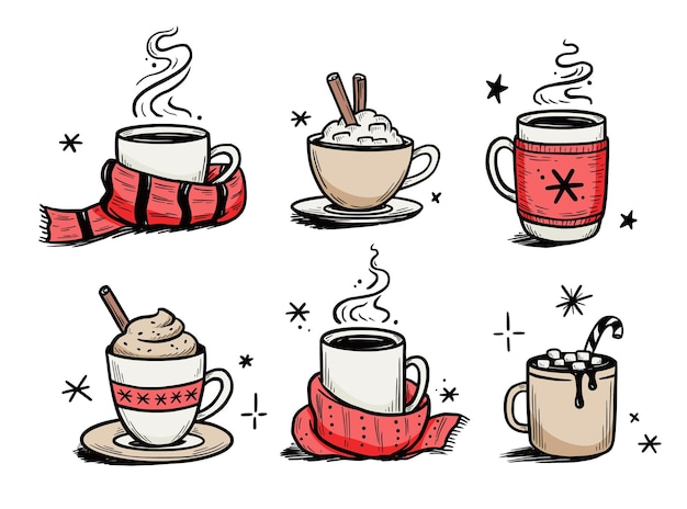 Christmas hot drink set of winter coffee, tea. hand drawn sketch style. drink cup, mug with winter scarf. vector illustration.