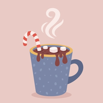 Christmas hot drink with candy cane and marshmallow merry christmas