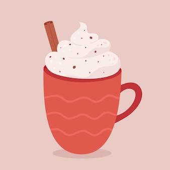 Christmas hot drink with cinnamon hot coffee hot chocolate