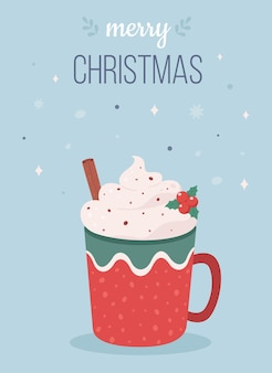 Christmas hot drink with cinnamon stick merry christmas greeting card