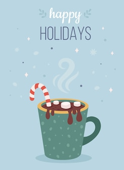 Christmas hot drink with marshmallow and candy cane happy holidays