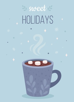 Christmas hot drink with marshmallow happy holidays greeting card