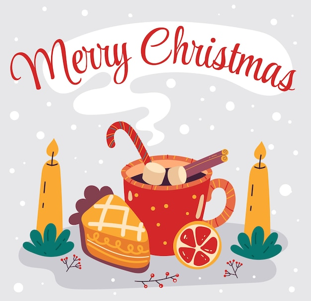 Christmas hot drink with piece pie merry christmas and happy new year card