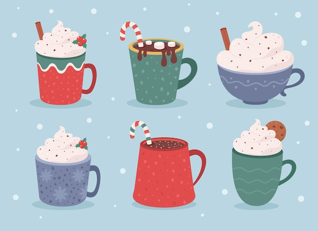 Christmas hot drinks collection winter hot drinks hot chocolate cups of coffee Premium Vector