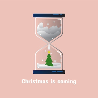 Christmas hourglass with christmas tree in flat design
