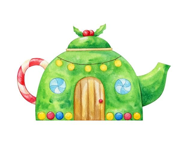 차 남비로 크리스마스 집. 수채화 그림