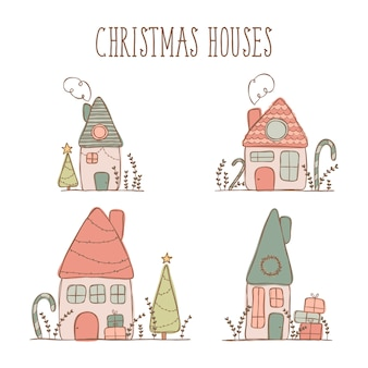Christmas house illustration stickers