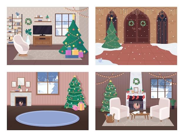 Рождественский дом внутри набора плоских цветных иллюстраций