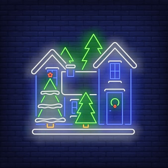 Christmas house neon sign