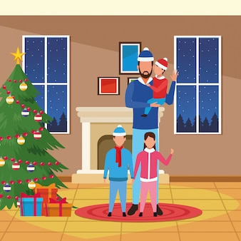 Christmas house with father with sons, merry christmas illustration