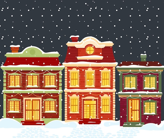 Christmas houses. cartoon winter city landscape, townhouses with lights and holiday decoration