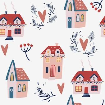크리스마스 집 완벽 한 패턴입니다. 크리스마스 포장, 벽지, 직물 및 직물을 위한 겨울 집, 전나무 잔가지 및 눈송이. 벡터 배경입니다.