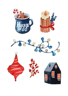 Christmas hygge rustic watercolor elements set