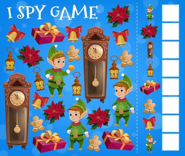 Christmas i spy game template with cartoon xmas elves and gits. children education find and count game, puzzle or riddle with christmas present box, bell, gingerbread man and red ribbon bow