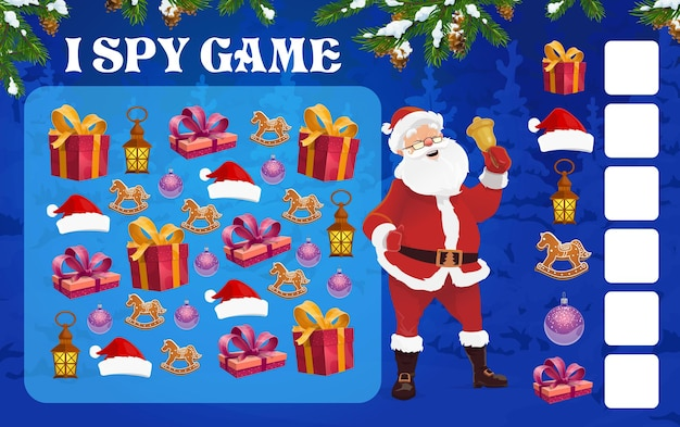 미취학 아동 벡터를 위한 크리스마스 나는 스파이 퍼즐