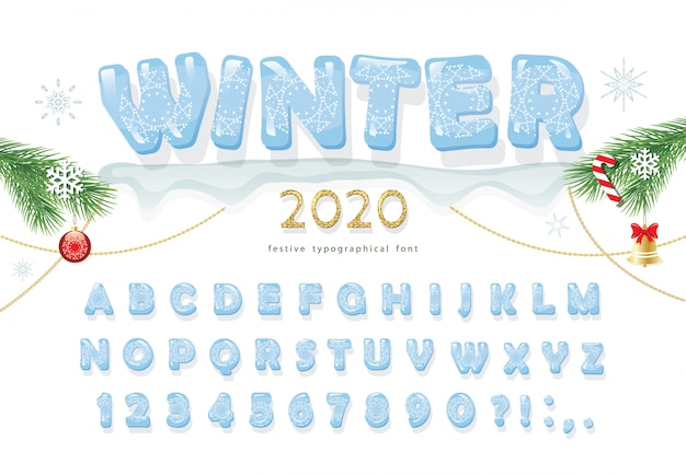 Christmas ice decorative font new year 2020