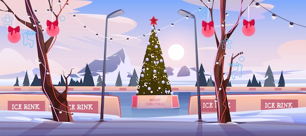 Pista di pattinaggio sul ghiaccio di natale con l'albero di abete decorato con l'illuminazione e l'illustrazione festiva delle bagattelle