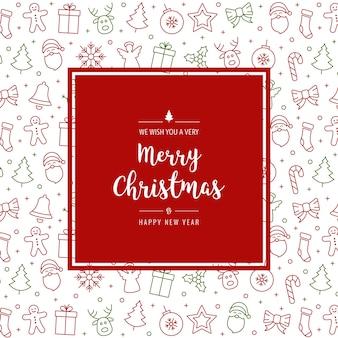 Рождественский значок элементы карты приветствие текст границы кадра белый фон