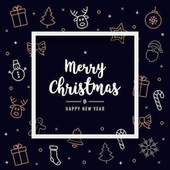 クリスマスアイコン要素カード挨拶テキストフレームの背景