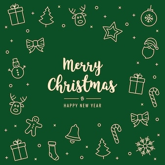 Christmas icon elements card greeting text green background