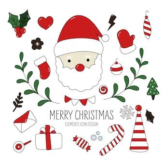 Christmas icon elements drawn style