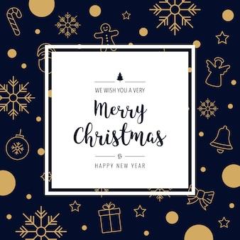 Рождественские иконки элементы золотая карточка приветствие текст граница рамка синий фон