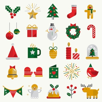 Рождество значок набор концепции коллекции