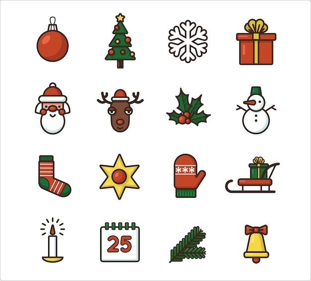 Christmas icon set. colorful vector illustrations in a flat style. isolated on a white background.