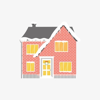 冬の家とクリスマスのアイコン。居心地の良い家、コテージとの完璧な休日のイラスト。