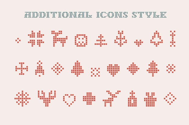 Christmas icons are made of thick round knits perfect for ugly sweater party design