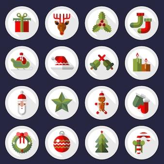 Christmas icons buttons set