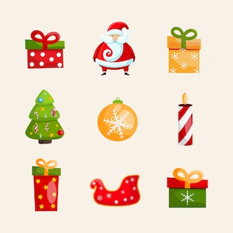 Christmas icons collection with santa claus, swan toy, gift boxes, candle, christmas tree and bauble