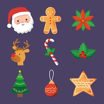 Christmas icons or elements cartoon
