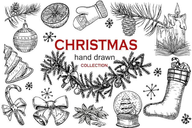 크리스마스 아이콘 손으로 그린 스케치 세트. 격리 된 복고풍 휴일 개체, 기호, 요소입니다. 크리스마스