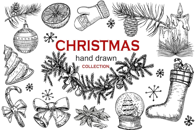 Christmas icons hand drawn sketch set. isolated retro holidays object, symbol, element. christmas