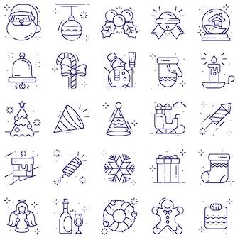 Christmas icons line set