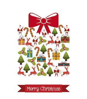 贈り物以上のクリスマスアイコン大きな背景のベクトル図