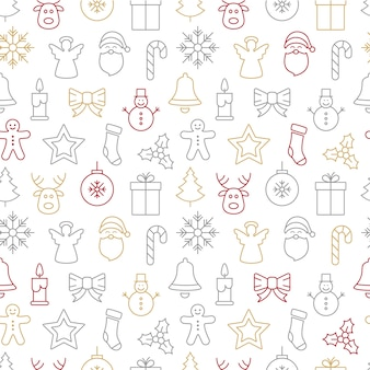 Christmas icons seamless pattern background